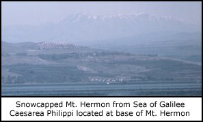 Distant view of Mt. Hermon from the Sea of Galilee